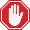Main blache dans un panneau rouge